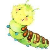 Ejemplo de la acuarela de la mariposa de la oruga del insecto de la historieta Imagen de archivo libre de regalías