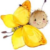 Ejemplo de la acuarela de la mariposa del insecto de la historieta Imagen de archivo