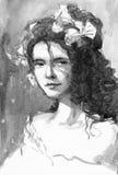 Ejemplo 1900 de la acuarela de la mujer del vintage Imagen de archivo