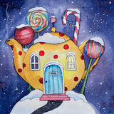 Ejemplo de la acuarela de la tierra del caramelo del invierno Fotografía de archivo libre de regalías