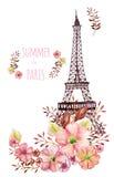 Ejemplo de la acuarela de París ilustración del vector