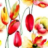 Ejemplo de la acuarela de tulipanes que un Gerbera florece Fotografía de archivo libre de regalías