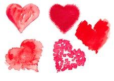Ejemplo de la acuarela de un corazón rojo Fotografía de archivo