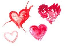 Ejemplo de la acuarela de un corazón rojo Imagen de archivo