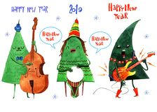 Ejemplo de la acuarela del árbol de la Navidad y del Año Nuevo, fondo, postal, jefe, enhorabuena, Feliz Año Nuevo 2019 Invierno ilustración del vector