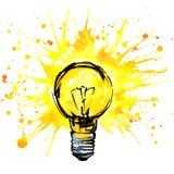 Ejemplo de la acuarela del concepto de la idea de la bombilla Muestra dibujada mano