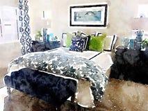Ejemplo de la acuarela del dormitorio moderno con las decoraciones de la cama y del homeware Imagen de archivo libre de regalías