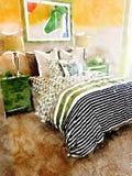 Ejemplo de la acuarela del dormitorio moderno con las decoraciones de la cama y del homeware Foto de archivo