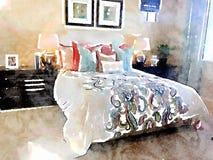 Ejemplo de la acuarela del dormitorio moderno con las decoraciones de la cama y del homeware Fotografía de archivo libre de regalías