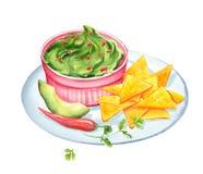 Ejemplo de la acuarela del Guacamole y de los nachos ilustración del vector
