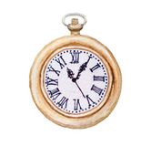 Ejemplo de la acuarela del reloj retro del bolsillo del viejo vintage de la moda, aislado en blanco ilustración del vector