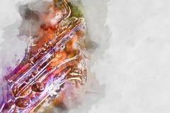 Ejemplo de la acuarela del saxofón Imagen de archivo libre de regalías