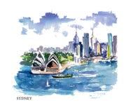 Ejemplo de la acuarela del vector de Australia stock de ilustración