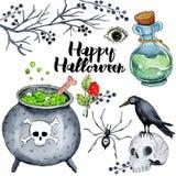 Ejemplo de la acuarela del vector para el feliz Halloween 4 ilustración del vector