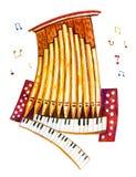 Ejemplo de la acuarela de la historieta del tubo de órgano estilizado con las notas stock de ilustración