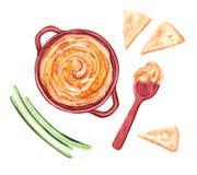 Ejemplo de la acuarela de Hummus con las verduras, la pita y la cuchara stock de ilustración