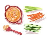 Ejemplo de la acuarela de Hummus con las verduras y la cuchara ilustración del vector