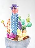 Ejemplo de la acuarela de los cactus del flor fotografía de archivo