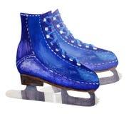 Ejemplo de la acuarela de los patines de hielo masculinos de los pares stock de ilustración