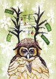 Ejemplo de la acuarela para la Navidad y Año Nuevo 2018 con el búho Imagen de archivo libre de regalías