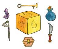 Ejemplo de la acuarela: Parafernalia para el papel que juega a juegos Corta en cuadritos, los cristales, botella con la poción má ilustración del vector