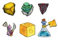 Ejemplo de la acuarela: Parafernalia para el papel que juega a juegos o a los juegos de mesa Corta en cuadritos, los cristales, b stock de ilustración