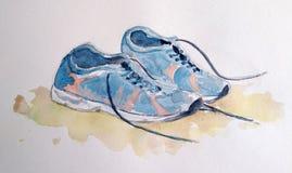 Ejemplo de la acuarela de pares de zapatos de los deportes fotos de archivo libres de regalías
