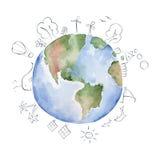 Ejemplo de la acuarela -- planeta verde Fotos de archivo libres de regalías