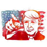 Ejemplo de la acuarela que muestra a Donald Trump republicano Imágenes de archivo libres de regalías