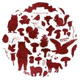 Ejemplo de la acuarela, sistema con la imagen de hojas, ramas, bayas, flores, animales y pájaros, elementos del otoño, oso, squir Imagen de archivo libre de regalías