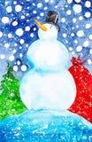 Ejemplo de la acuarela de un muñeco de nieve en un sombrero en el fondo del bolso de la nieve que cae, del bosque y del regalo imagen de archivo