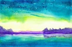 Ejemplo de la acuarela de un paisaje hermoso del bosque del verano por el lago ilustración del vector