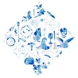 Ejemplo de la acuarela, un sistema de elementos individuales y marcos para el día de fiesta de Halloween Silueta azul en blanco Imagen de archivo