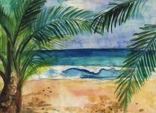 Ejemplo de la acuarela de una playa tropical, de ondas y de palmas imagen de archivo