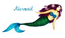 Ejemplo de la acuarela de una sirena, muchacha con una cola de los pescados ilustración del vector
