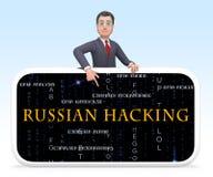 Ejemplo de la alarma 3d del espionaje del web del pirata informático del teléfono ilustración del vector