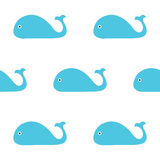 Ejemplo de la ballena azul Modelo inconsútil Estilo simple de los niños Ilustración EPS10 del vector Fotografía de archivo