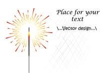 Ejemplo de la bengala, de los fuegos artificiales coloridos o indios bengalíes del color, fuego, pirotecnia Año Nuevo, la Navidad ilustración del vector