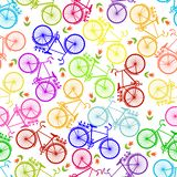 Ejemplo de la bicicleta, montando en la bicicleta, ejemplo del vector Modelo inconsútil stock de ilustración