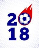 ejemplo 2018 de la bola de fuego del fútbol en el contexto blanco de la red de la meta Imagenes de archivo