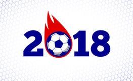 ejemplo 2018 de la bola de fuego del fútbol en el contexto blanco de la red de la meta stock de ilustración