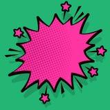 Ejemplo de la burbuja enojada del discurso con las pequeñas estrellas y el esquema más oscuro grueso Texto de semitono de la expl stock de ilustración