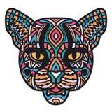Ejemplo de la cabeza del gato salvaje en el fondo blanco Gato dibujado mano para el libro de colorear arte del Zen-garabato, dise stock de ilustración