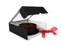 Ejemplo de la caja de papel Open para las galletas o las tortas con un arco en el fondo blanco Imágenes de archivo libres de regalías
