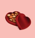 Ejemplo de la caja del chocolate del día de tarjeta del día de San Valentín en fondo rosado Fotos de archivo libres de regalías