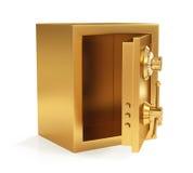 Ejemplo de la caja fuerte cerrada de oro aislada en el fondo blanco Fotos de archivo