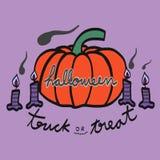 Ejemplo de la calabaza y de la vela de Halloween Fotografía de archivo