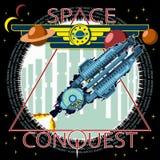 Ejemplo de la camiseta o del cartel La nave espacial saca contra la perspectiva de la ciudad stock de ilustración