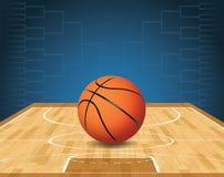 Ejemplo de la cancha de básquet y del torneo de la bola ilustración del vector