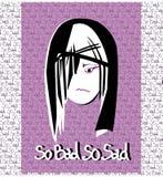 Ejemplo de la cara triste de la muchacha Foto de archivo